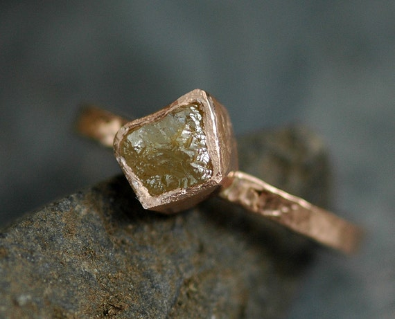 Conflict Free Raw Rough Cube Diamond on Hammered 14k Recycled Rose Gold Ring- Colored Natural  Rough Uncut Stone