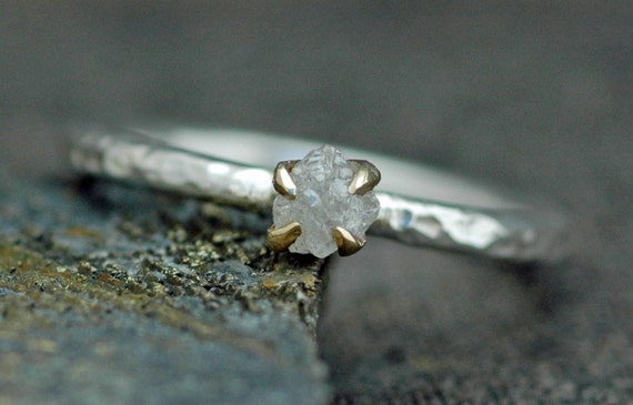 Rough Raw Diamond Stacker Ring in Hammered Sterling Silver with Gold Prong Setting
