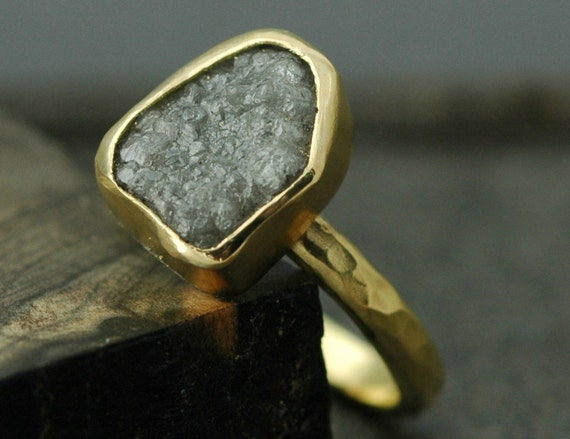 Huge Raw Rough Diamond and Recycled 18k Gold Engagement Ring- Custom Made to Order