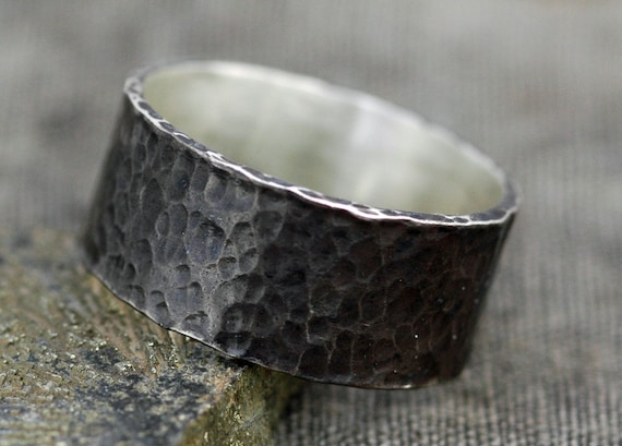 "Rustic Oxidized Hammered Sterling Silver Band- Custom 3/8"" Wide Dark Wedding Band"