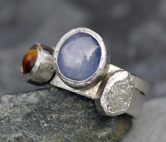 Multistone Platinum, Raw Diamond and Gemstone Ring Set- Custom Made