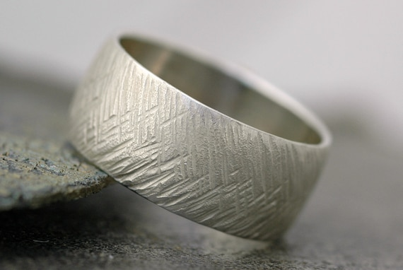Herringbone Textured Sterling Silver Ring