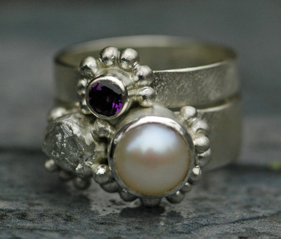 Freshwater Pearl, Rough Raw Diamond, and Amethyst Sterling Silver Ring Stack- Custom Made Engagement and Wedding Band Set
