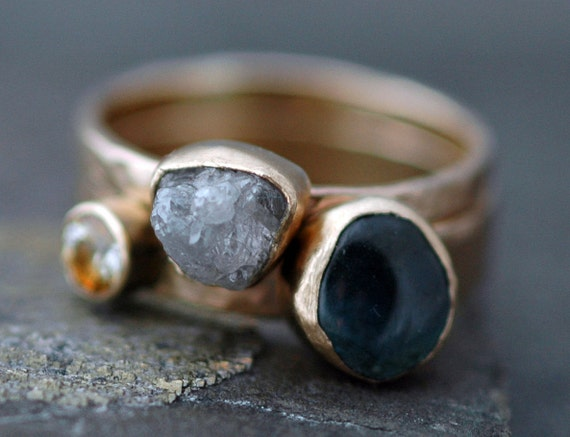 Custom 14k Gold Stacking Engagement and Wedding  Ring Set- Rough and Cut Gemstones