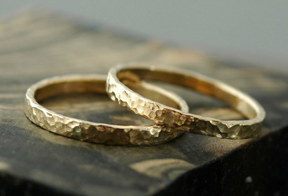 Gold Stacking Rings- 14k Gold, Hammered Finish
