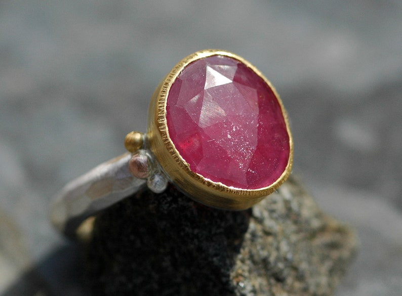 Rose Cut Sapphire in Sterling Silver Rose Gold and 22k image 0