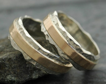 Wedding Ring Set- Hammered Sterling Silver and Recycled Yellow 14k Gold Wave Bands Mixed Metal- Custom Made