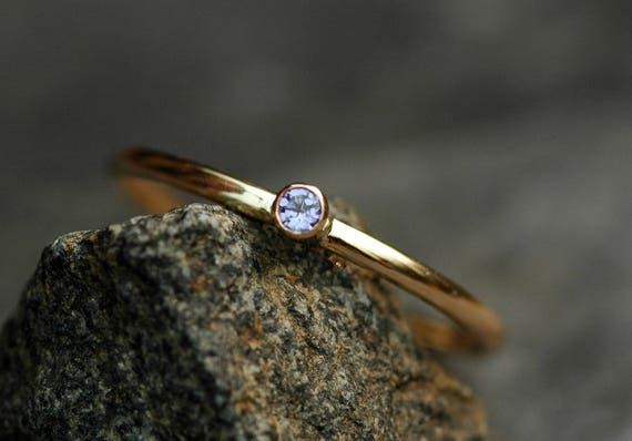 Tanzanite on Thin Solid Recycled 14k Gold Stacking Engagement Ring- Reserved