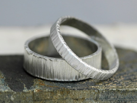 Thick Linear Textured Sterling Silver Bands- His and Hers Matching Wedding Rings Custom Made