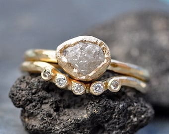 Rough Diamond Engagement Ring and Diamond Wave Wedding Band in Recycled 14k 18k White, Rose, or Yellow Gold
