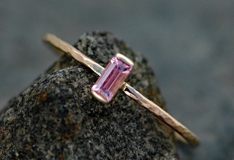 Pink Sapphire Baguette in Recycled 14 Gold Ring Made To Order image 0