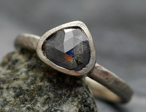 Salt and Pepper Rose Cut Diamond in  Recycled 14k Gold Ring- Custom Made to Order Engagement Ring