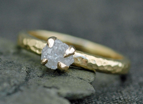 Conflict Free Rough Large Diamond Engagement Ring in Recycled 18k  Gold- One Carat Size C Diamonds