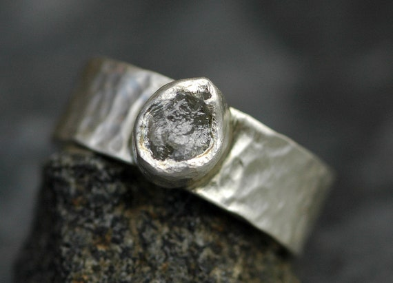 Raw Rough Diamond Ring in Recycled Hammered Sterling Silver- Ready to Ship Size 5 3/5 Fits Size 5.5