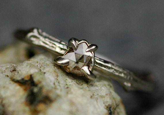 Twig Diamond Ring Rose Cut Cognac Diamond Slice on Recycled 14k or 18k Gold Twig Engagement Ring in Rose White or Yellow Gold Made to Order