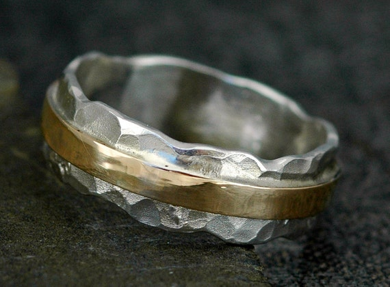 Hammered Sterling Silver and Recycled Yellow 14k Gold Wave Ring- Custom Made