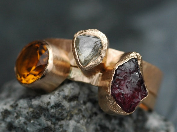 Multistone Recycled Gold Stacking Engagement and Wedding  Ring Set- Rough Diamond, Citrine, and Rhodolite Garnet