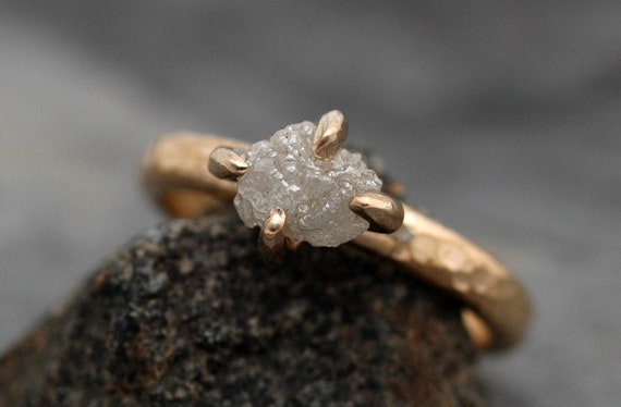 Conflict Free Rough Large Diamond Engagement Ring and Wedding Band in Recycled 18k Yellow Gold- One Carat Size C Diamonds
