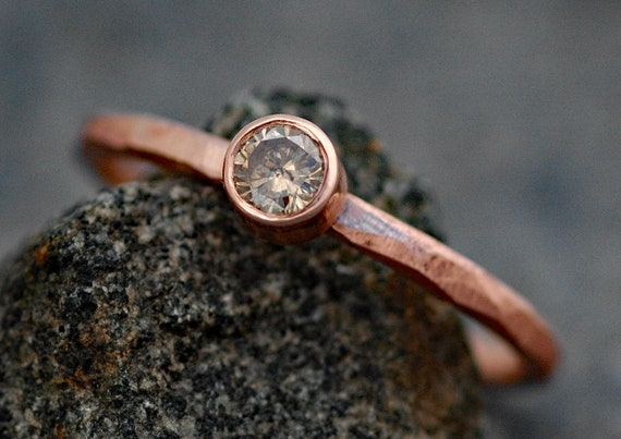 Cognac Diamond in Recycled 14k Rose Gold Engagement Ring- Textured Faceted Band, Ready to Ship Size 6