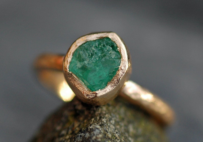 Rough Raw Colombian Emerald Engagement Ring in Recycled 14k or image 0