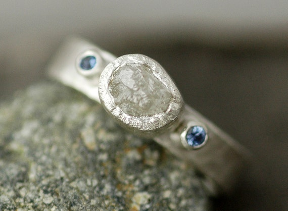 Rough Raw Diamond Ring in Hammered Sterling Silver with Sapphires- Custom Made Band