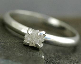 Rough Raw Diamond  Ring in 10k White or Yellow Gold- Size B Diamonds- Conflict free and recycled gold