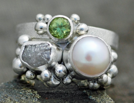Multistone Freshwater Pearl, Rough Raw Diamond, and Peridot Sterling Silver Ring Stack- Custom Made Engagement and Wedding Band Set