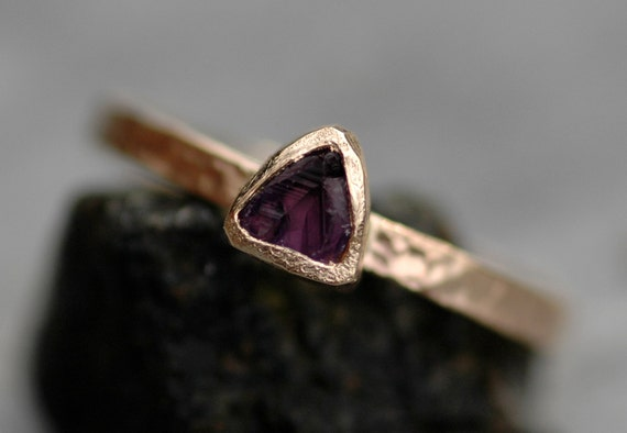 Raw Amethyst Trilliant in Textured Recycled Solid 14k or 18k Gold Ring- Made to Order