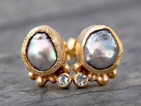 Akoya Saltwater Pearl and Aquamarine Earrings in Recycled Gold- Rose, Yellow, White Gold Custom Made to Order Post Earrings