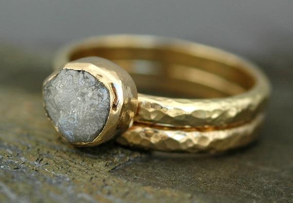 Bezel-Set Rough Large Diamond Engagement Ring and Wedding Band Set Recycled 18k White, Rose, or Yellow Gold- Size E Diamonds