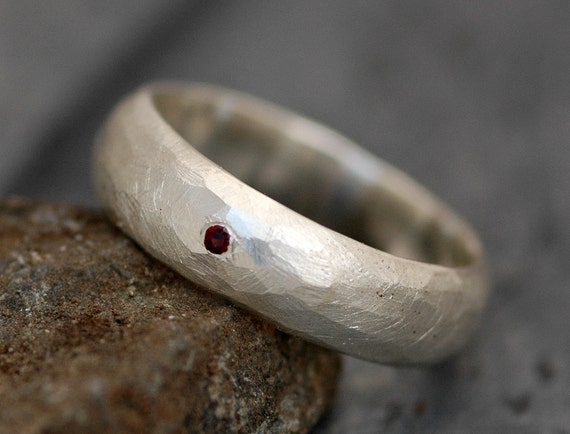 Faceted Thick Sterling Silver Band With Flush Set Red Spessartine Garnet- Ready to ship