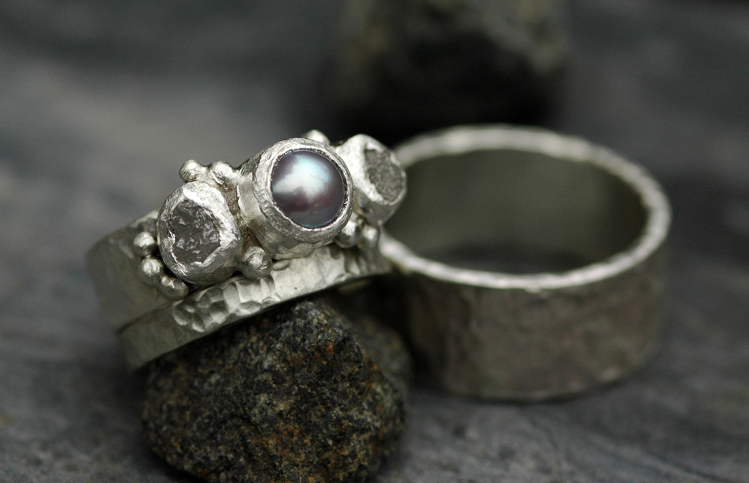 Three Rings- Rough Raw Uncut Diamond and Pearl Engagement