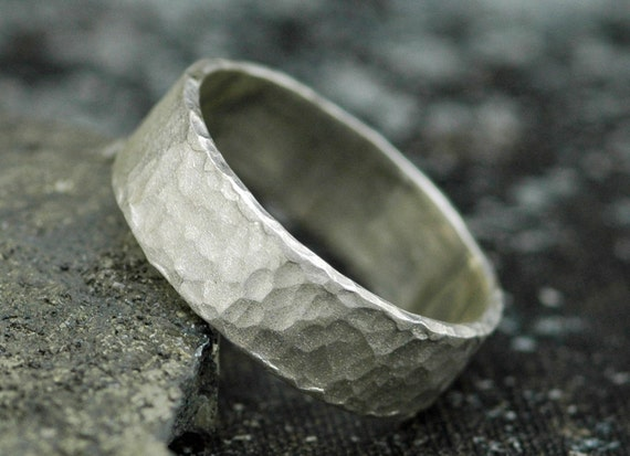 "Frosted Hammered Textured Sterling Silver Band- Custom 1/4"" Wedding Band"