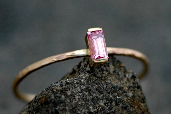 Pink Sapphire Baguette in Recycled 14k Yellow Gold Ring- Ready to Ship Size 7.5 Ring
