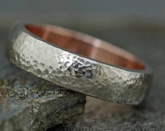 Domed 14k White and Rose Gold Wedding Band- Recycled Gold Mixed Metal Ring