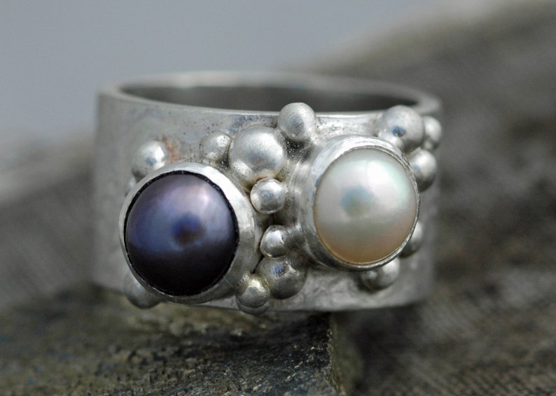 Colored  Pearls in Textured Wide Band Sterling Silver Ring image 0
