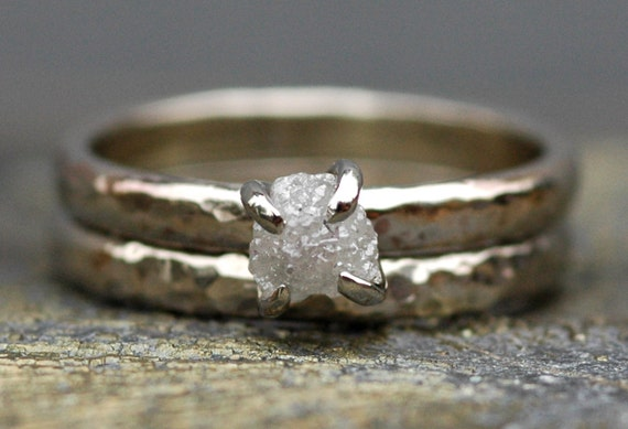 Conflict-Free Raw Rough Diamond Engagement Ring and Wedding Band in 10k White or Yellow Gold- One Carat Size C Diamonds