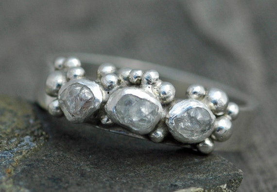 Rough Diamond and Sterling Silver Half-Eternity Band- Custom Made
