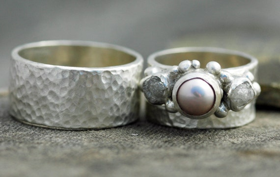 Three Rings- Rough Raw Diamond and Pearl Engagement Ring  and His-and-hers Wedding Band Set