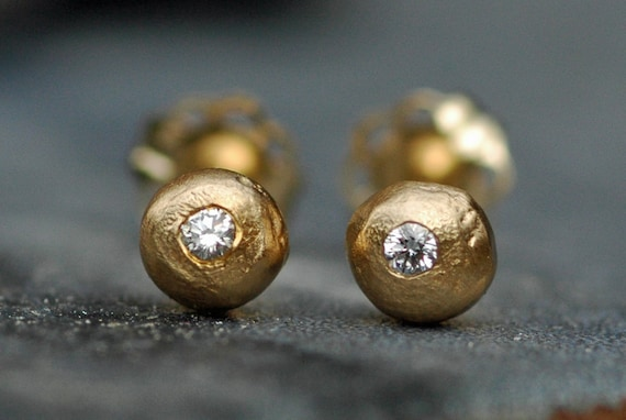 Solid 18k Yellow Gold Drops with Diamonds-  Made To Order Post Earrings