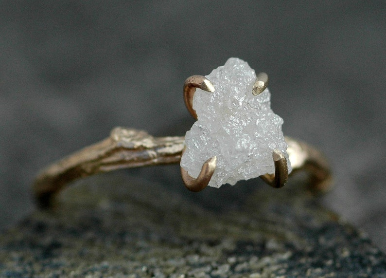 Engagement Rough Diamond and 14k Gold Branch Ring Twig Band image 0
