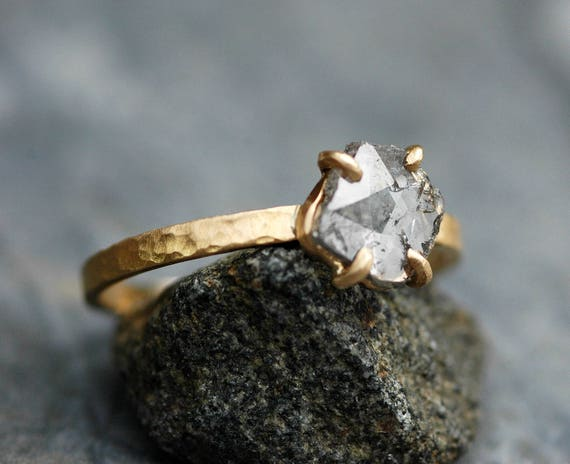 ON HOLD- Large Diamond Slice in Recycled 18k and 14k Yellow Gold Ring- Ready to Ship Size 9.5