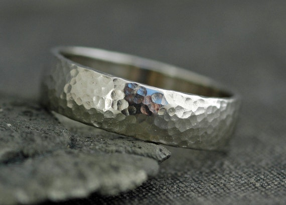 Domed 14k White Gold Wedding Band- Recycled Gold