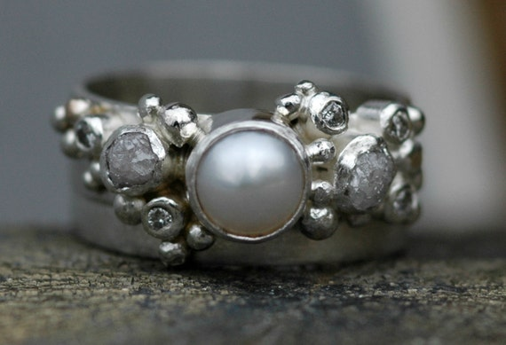 Rough Diamond, Diamond Melee and Pearl Engagement Ring and Matching Wedding Band- Custom Made Custom Colour