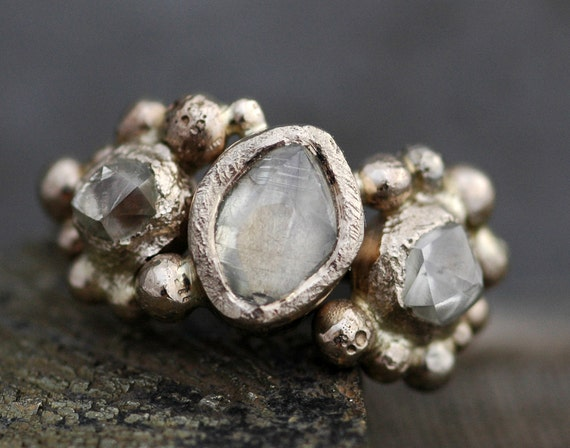 Transparent Rough Diamond Trio in Recycled Gold- Custom Made to Order Uncut Diamond Engagement Ring