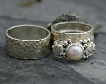 Three Rings- Rough Raw Uncut Diamond and Pearl Engagement Ring  and His and Hers Wedding Band Set