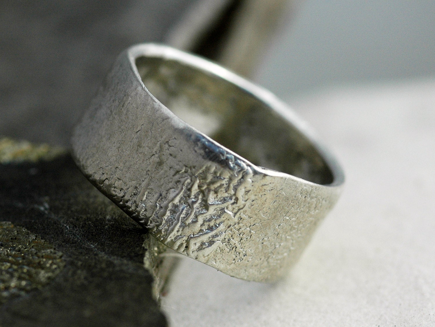 Reticulated Wide-Band Sterling Silver Ring Custom Made