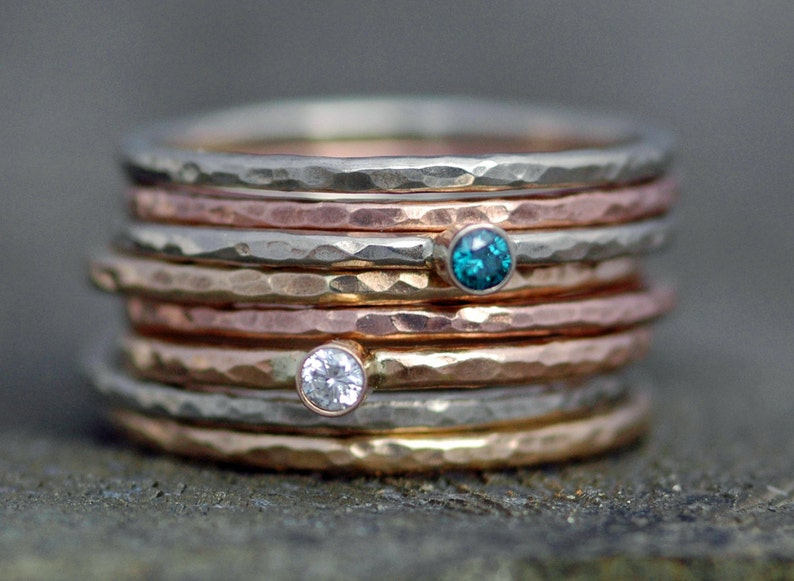 White Diamond on Thin Solid Recycled 14k Gold Stacking image 0