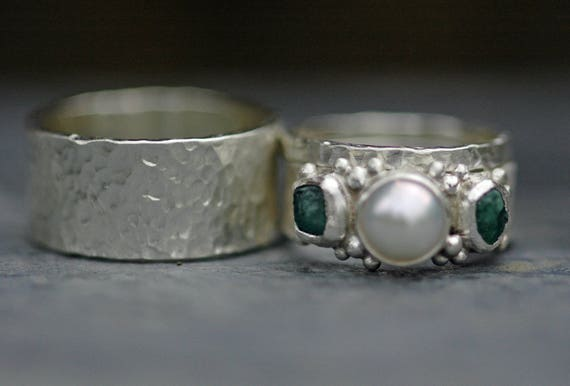 Rough Raw Emerald and White Pearl in Hammered Sterling Silver Ring- Three Ring Bridal Set