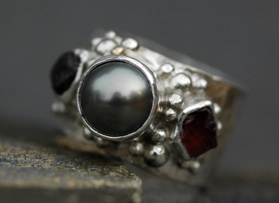 Multistone Tahitian Pearl and Raw Gemstones  in Hammered Sterling Silver Ring- Custom Made